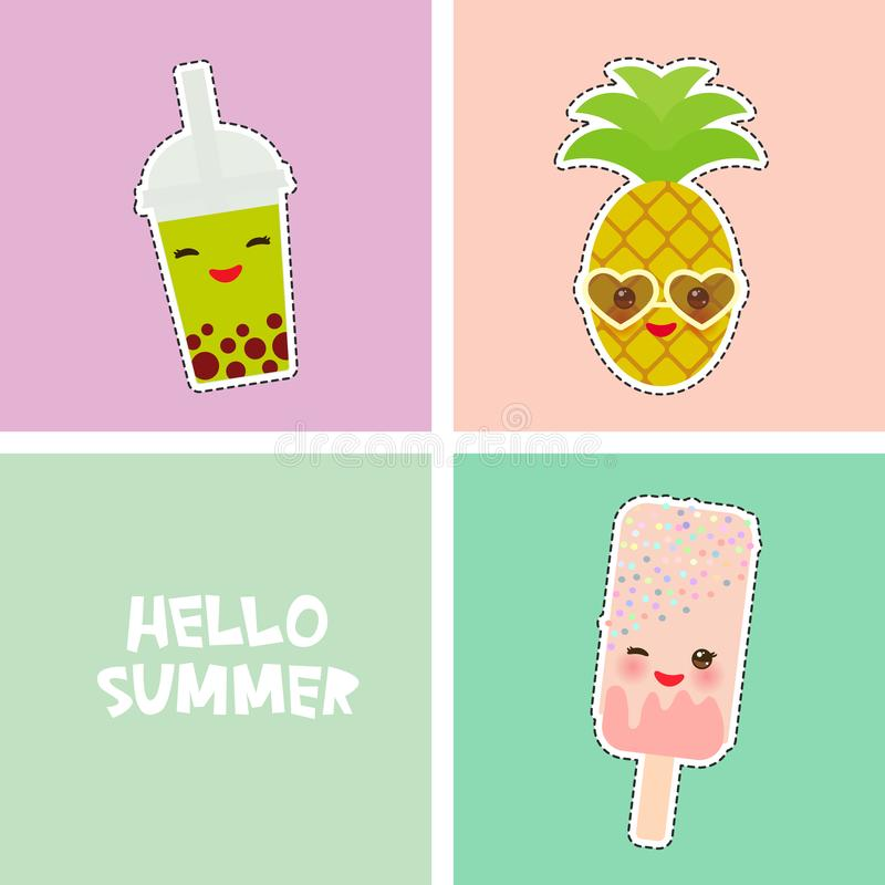Hello Summer bright tropical card banner design, fashion patches badges stickers. pineapple, smoothie cup, ice cream, bubble tea. royalty free illustration