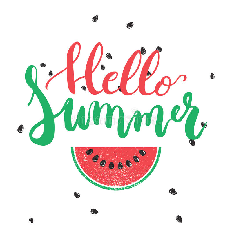 Hello Summer brush hand painted lettering phrase isolated on the white background with colorful watermelon stock illustration