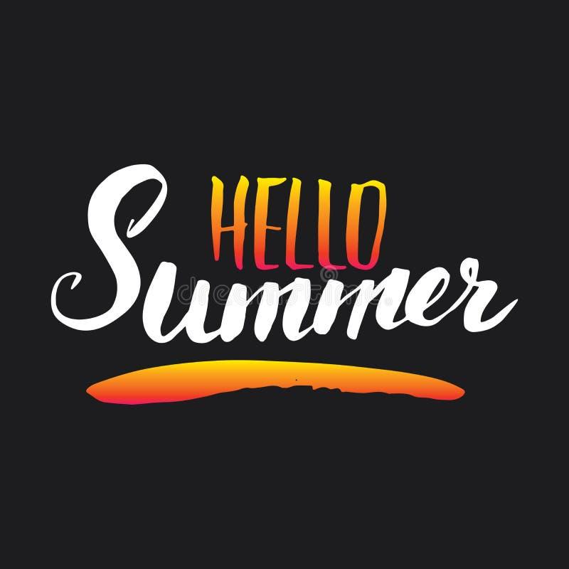 Hello Summer Calligraphy lettering handwritten sign, Hand drawn grunge calligraphic text. Vector illustration stock illustration