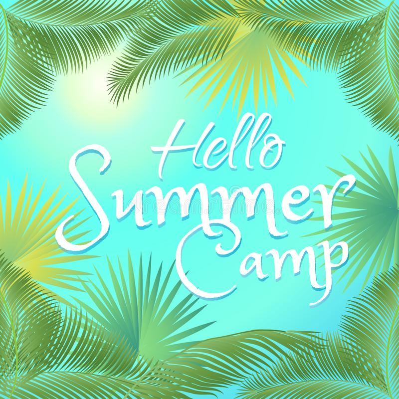 Hello Summer Camp tropical palm tree leaves frame stock illustration