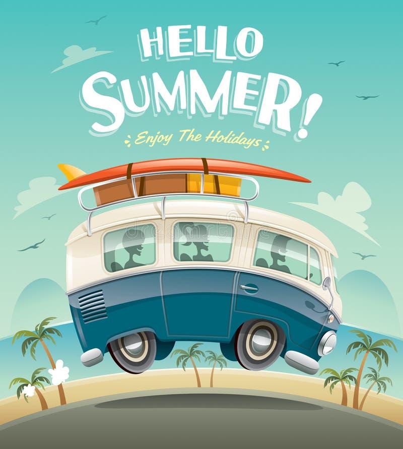 Hello Summer! Camper Van. Summer Vacation. Stock Vector ...