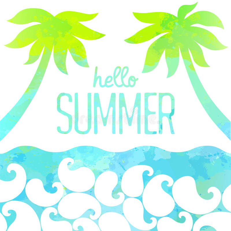 Download Hello Summer Card. Abstract Watercolor Background. Vector  Illustration Stock Vector   Illustration Of