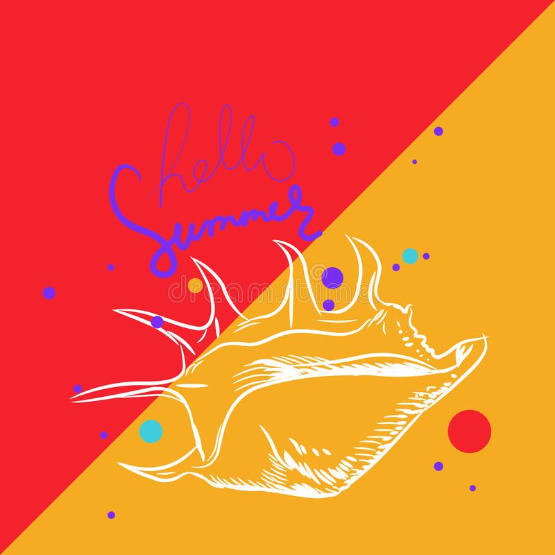 Hello summer card banner. Lambis spider conch, large sea snail, a marine gastropod mollusk in the family Strombidae, conchs. vector illustration