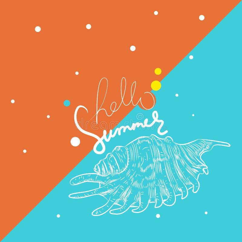 Hello summer card banner. Lambis, spider conch, sea snails shell. Sketch contour on blue ocher Orange background. Vector vector illustration