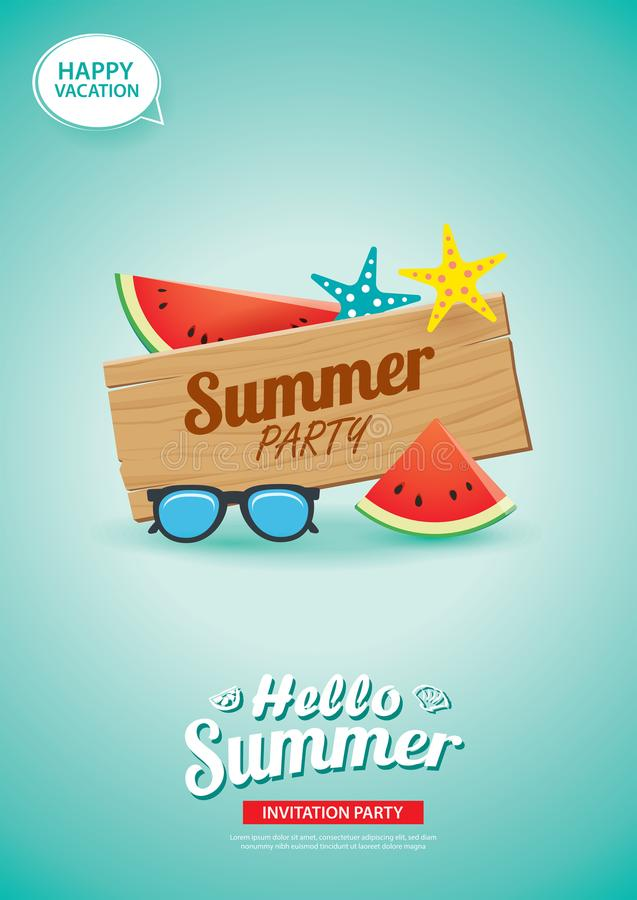 Hello summer card banner with wooden background. Use for poster, flyer, advertising, brochure, invitation, flyer. stock illustration