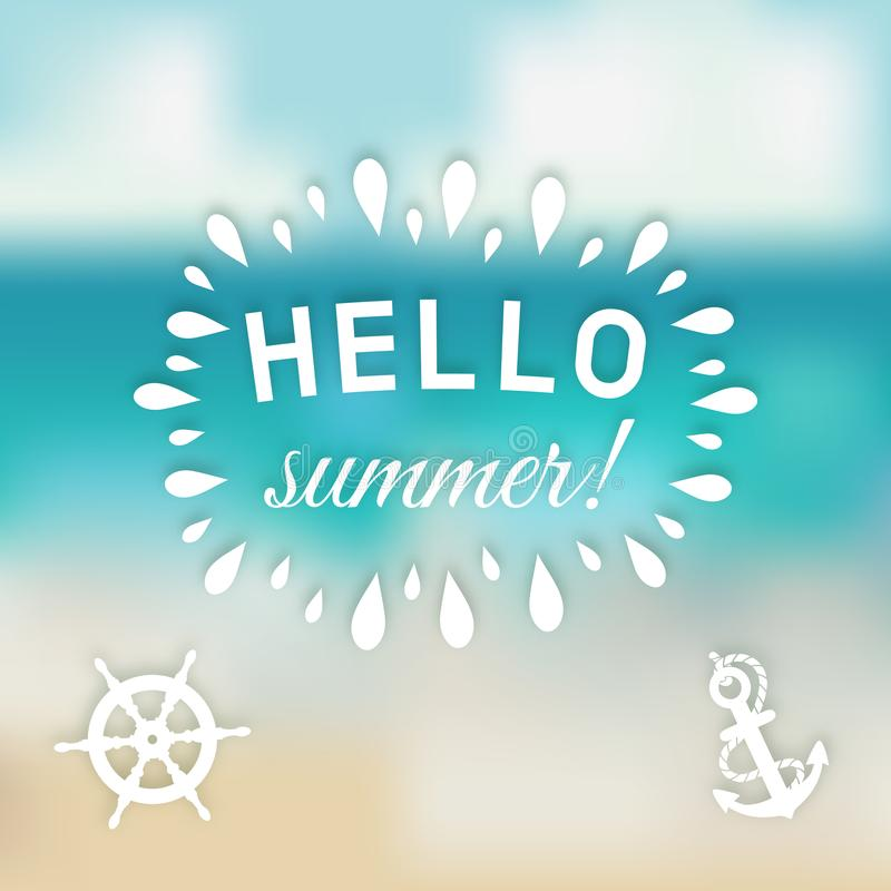 Download Hello Summer Card At Sea Background With Marine Symbols Stock  Vector   Illustration Of Holiday