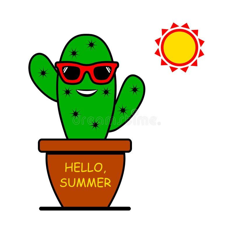 Hello, Summer. Cartoon emoticon cactus with sunglasses and sun. Vector royalty free illustration