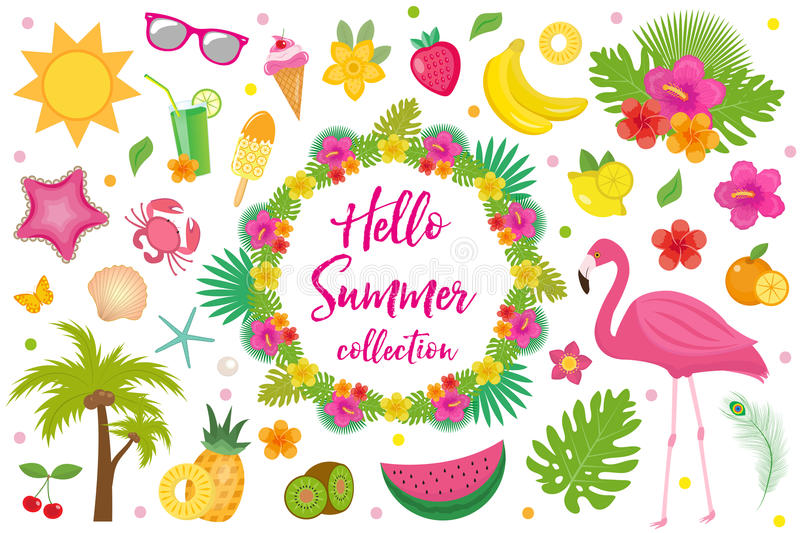 Hello summer collection of design elements,flat style. Tropical set with exotic flowers, flamingos, fruits. Beach royalty free illustration