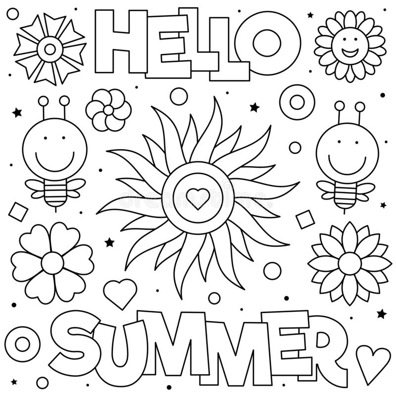 Hello Summer Coloring Page Vector Illustration Sun Bees Flowers Stock Vector Illustration Of Drawing Vector 146586345