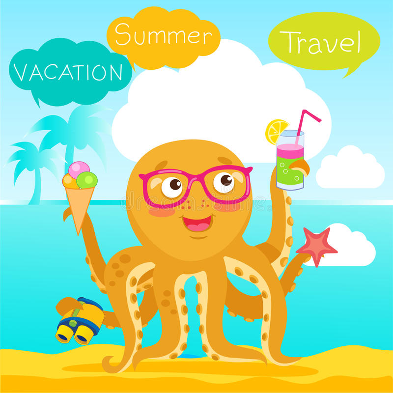 Download Hello Summer Cute Banner With Octopus. Vector Tentacle. Funny  Cartoon Octopus Character Design