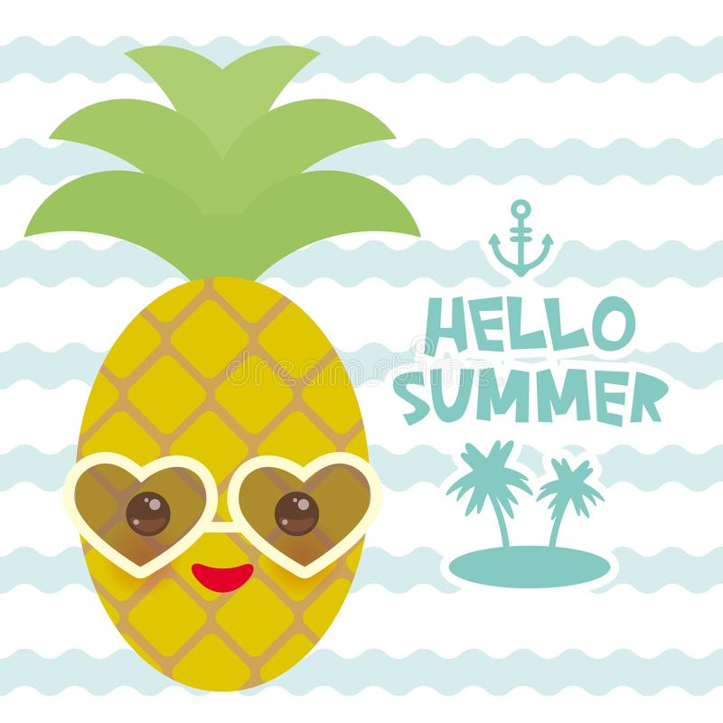 Download Hello Summer Cute Funny Kawaii Exotic Fruit Pineapple With  Sunglasses Isolated On White. Hot