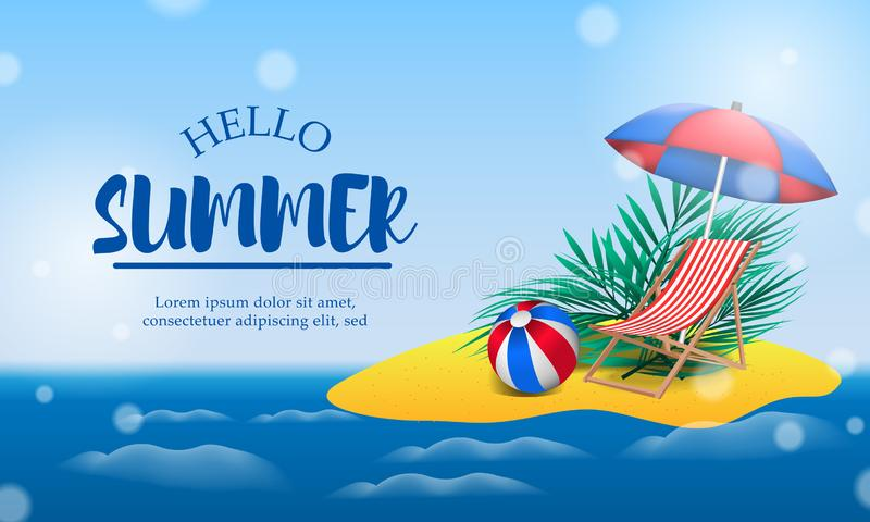 Hello Summer day travel holiday at beach tropical season landscape beautiful island royalty free illustration