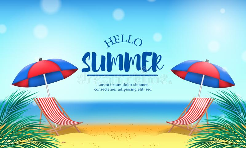 Hello Summer day travel holiday at beach tropical season landscape with double chair vector illustration