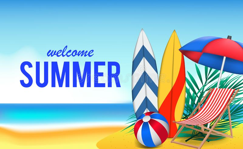 Hello Summer day travel holiday at beach tropical season landscape vector illustration