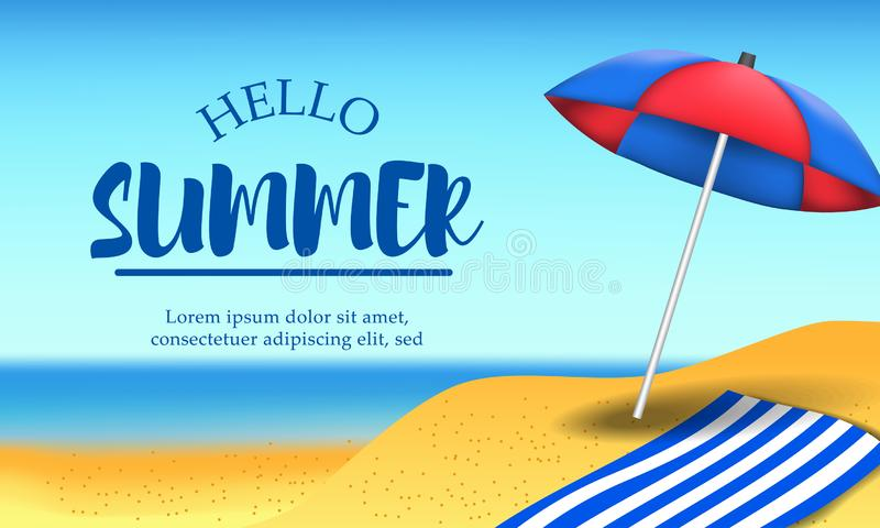Hello Summer day travel holiday at beach tropical season landscape with umbrella vector illustration