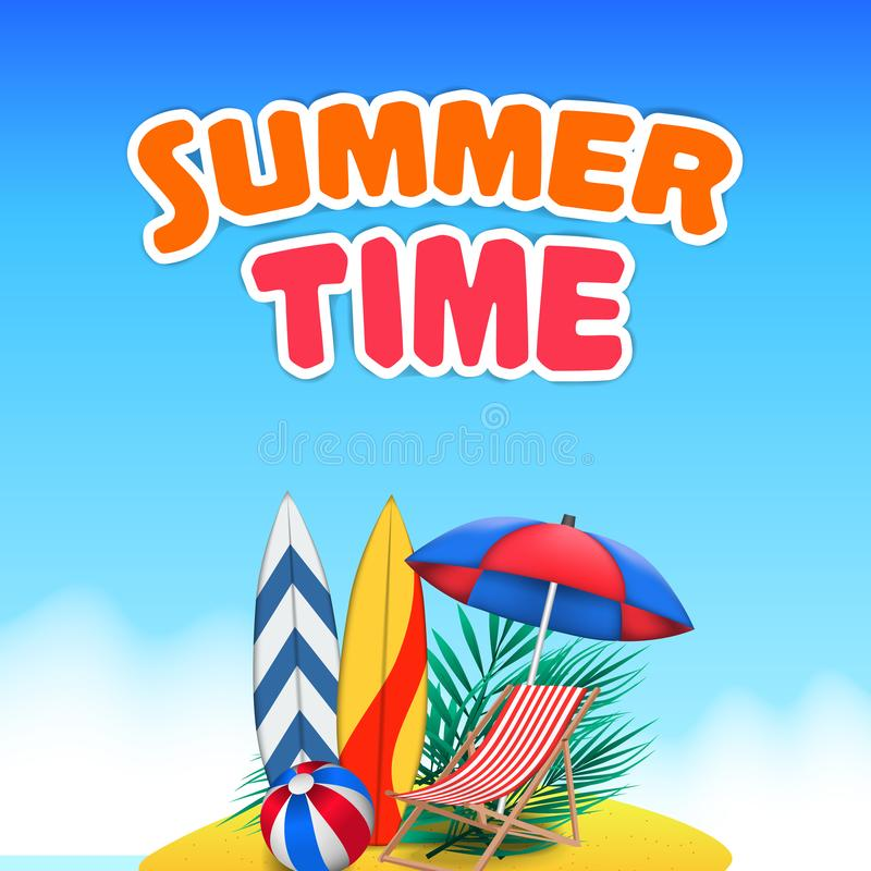 Hello Summer day travel holiday at tropical island tropical season landscape royalty free illustration
