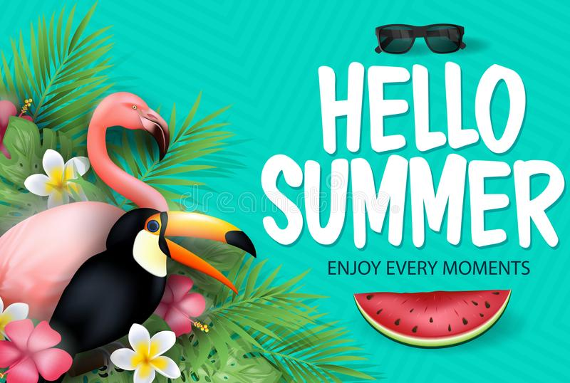Hello Summer Enjoy Every Moments Message with Watermelon for Summer Season in Patterned Teal Background vector illustration