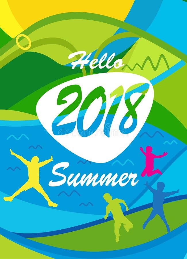 Hello Summer poster tropical travel kids vector illustration
