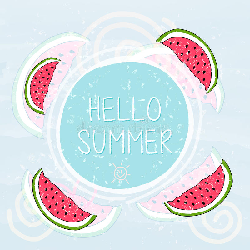 hello summer in frame with watermelons and sun smile, blue grunge drawn label stock illustration