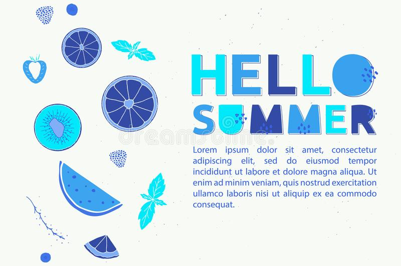 Hello Summer fresh banner in different shades of blue. Illustration with fruits, berries and alphabet stock illustration