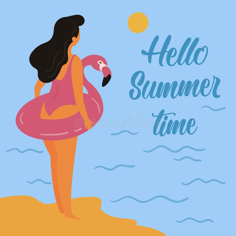 Hello summer. Girl and inflatable pink flamingo royalty free illustration