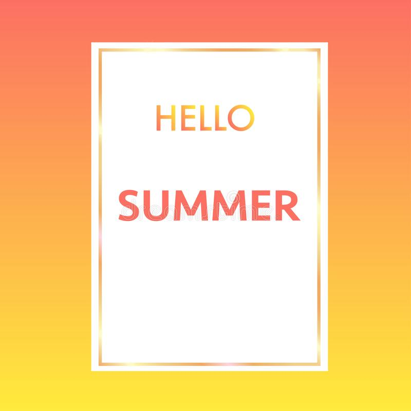 hello summer with golden frame colourful background stock illustration