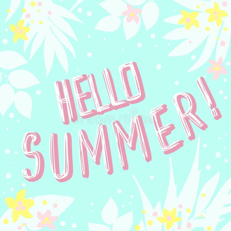 Hello summer greeting card invitation invitations with hand drawn download hello summer greeting card invitation invitations with hand drawn palm leaves flowers stopboris Images