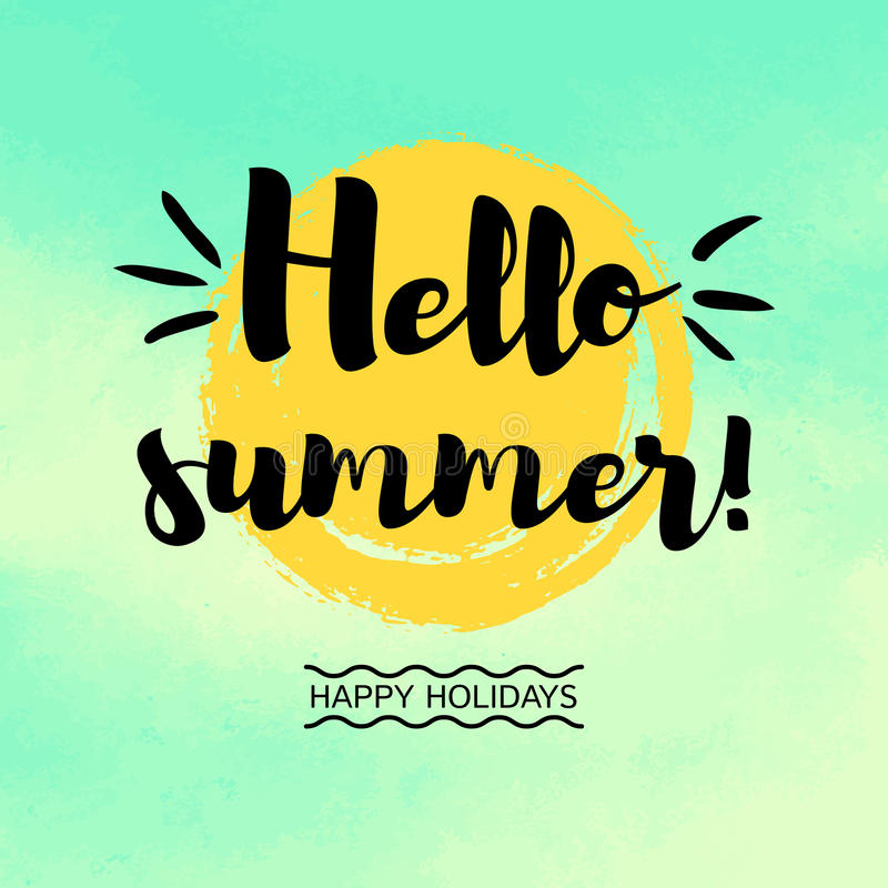 Great Download Hello Summer Greeting Card With Sun And Watercolor Background  Stock Vector   Illustration Of Retro