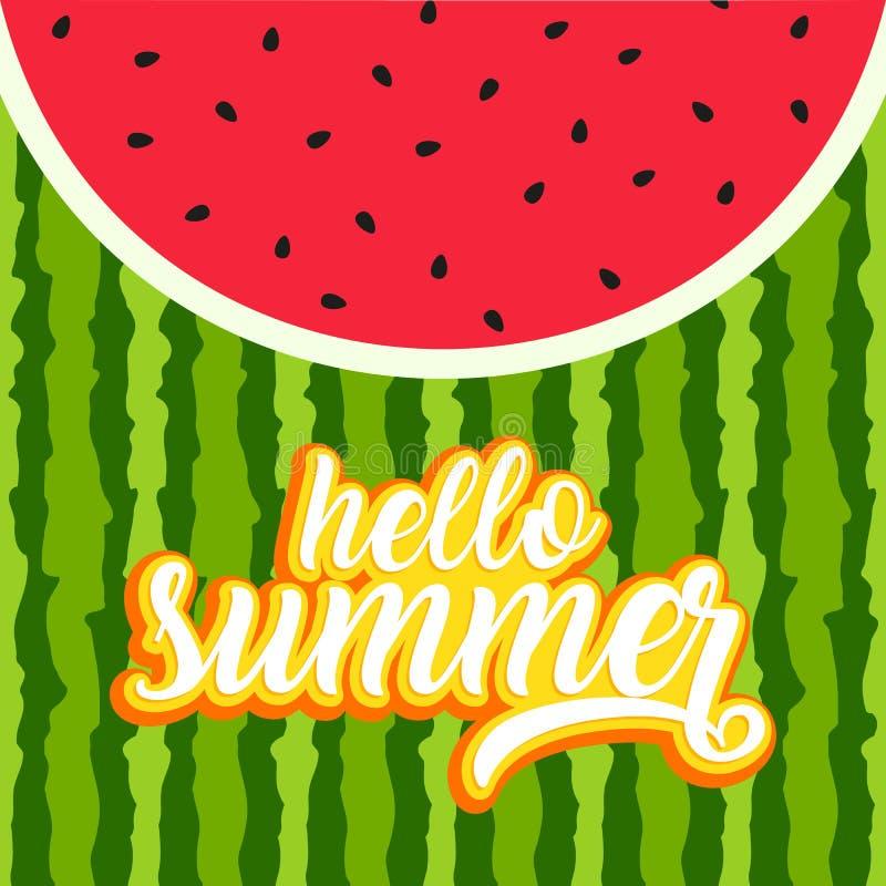 Hello summer greeting card vector illustration