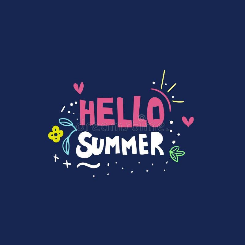 Hello summer hand drawn flat vector lettering royalty free illustration