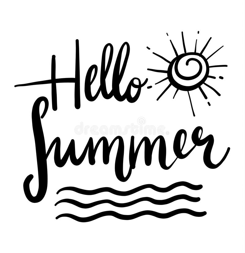 Hello summer hand drawn lettering composition with doodle sun. Handwritten calligraphy design. vector illustration