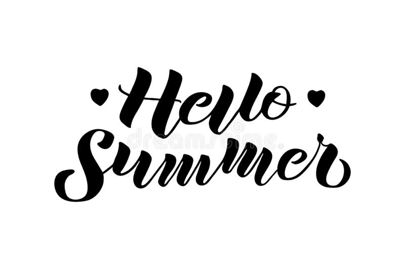 Hello Summer hand drawn lettering composition royalty free illustration