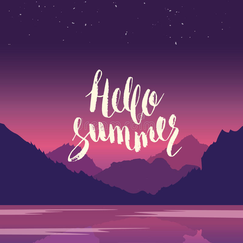 Hello summer. Hand lettering vector illustration. Inspirational phrase. Typography poster. Apparel t-shirt print. Perfect design. Mountains and river in the vector illustration