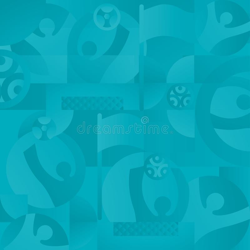 EURO 2020 UEFA European Championship Soccer Abstract football sports dynamic turquoise seamless background. Soccer European Championship. EURO 2020 Abstract stock illustration