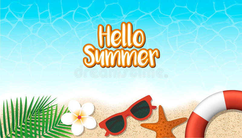 Download Hello Summer Holiday Background. Season Vacation, Weekend. Vecto  Stock Vector   Illustration
