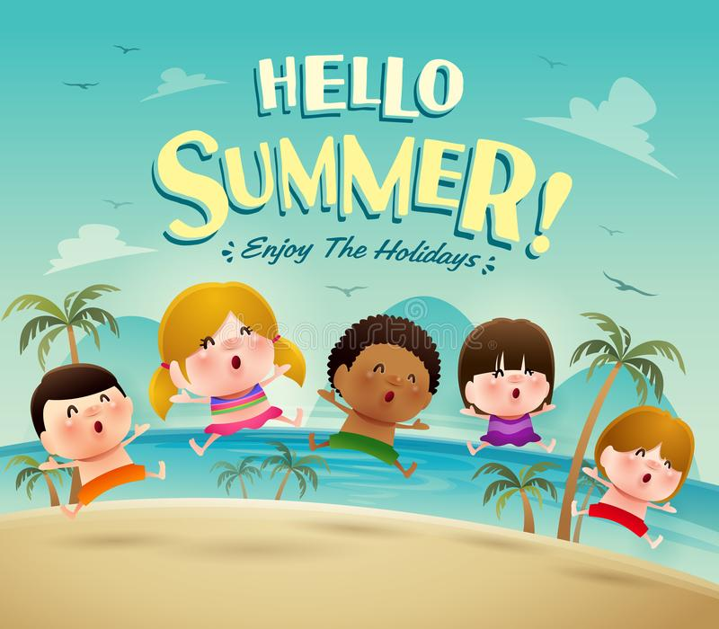 Hello summer holiday! Group of kids jumping on the beach in swimsuit. vector illustration