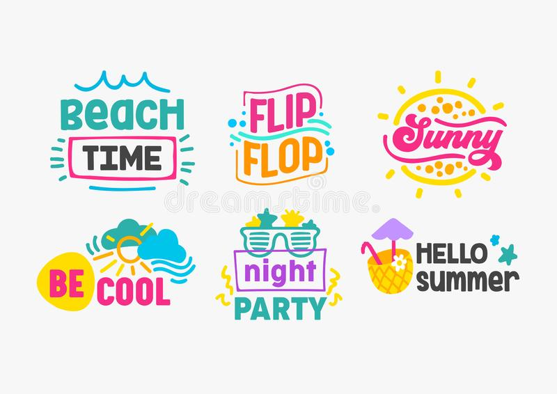 Hello Summer Holidays Labels and Badges with Typography Set. Templates for Greeting Cards, Posters and T-shirts Design. Beach Time, Flip Flop, Sunny, Be Cool royalty free illustration