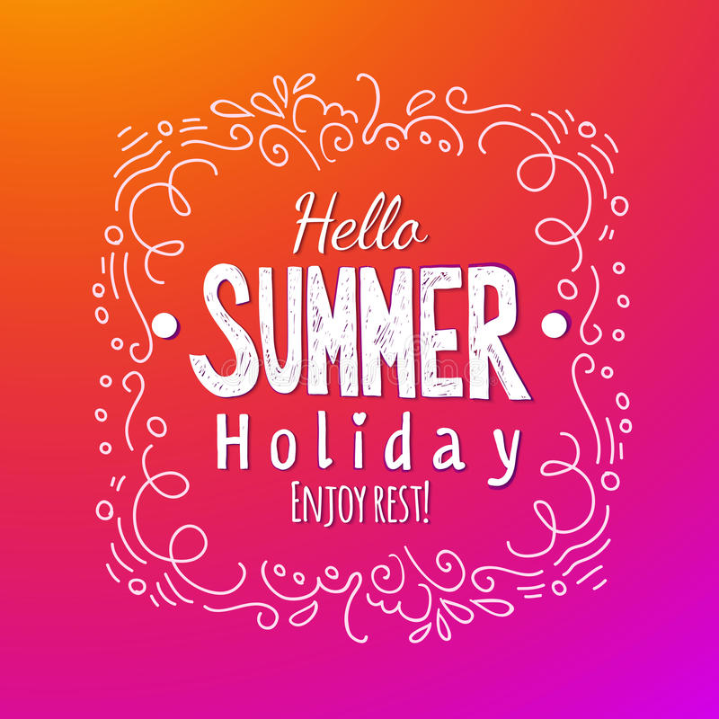 Download Hello Summer Holidays Lettering Background Stock Vector    Illustration Of Sentence, Illustration: 71983777