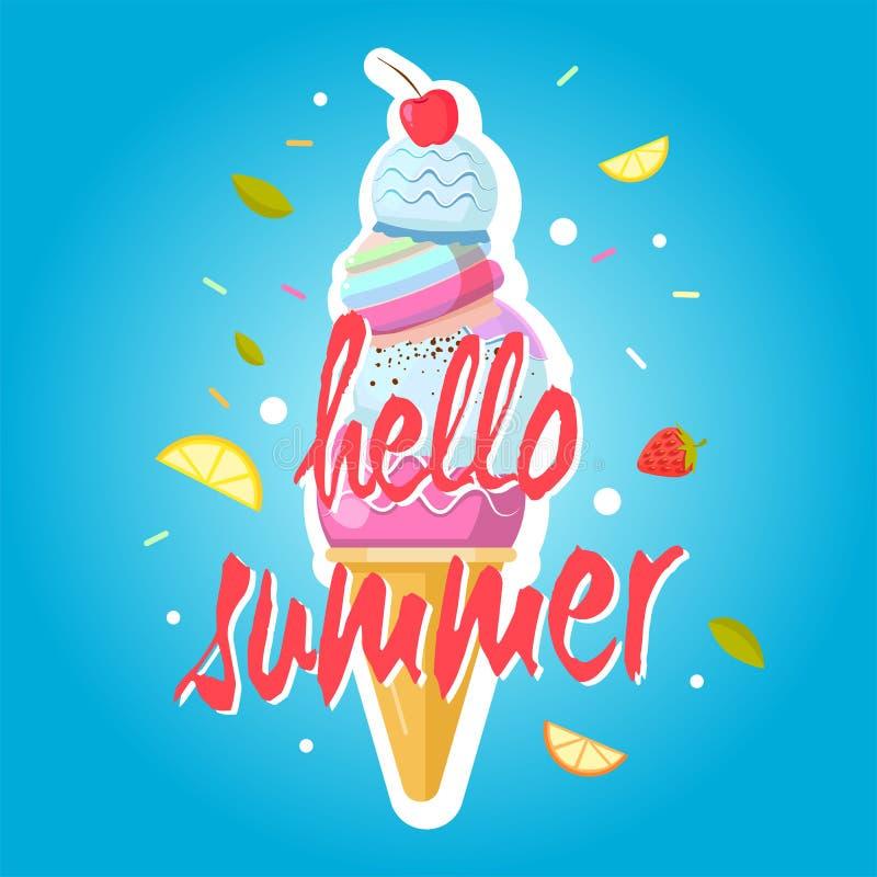 Hello summer ice cream cone, colorful background. Color sweet ice cream food, dessert ice-cream, vector illustration royalty free illustration
