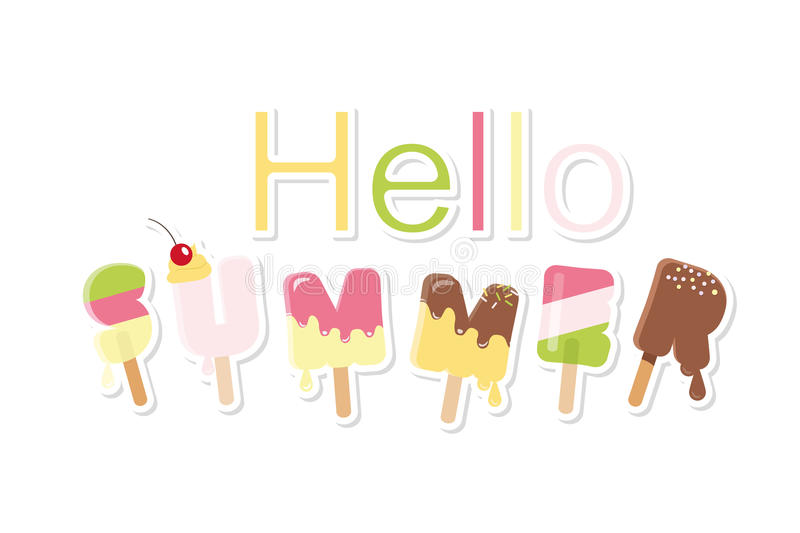 Hello summer ice cream letters isolated on white. Festive paper cut out stickers. royalty free illustration
