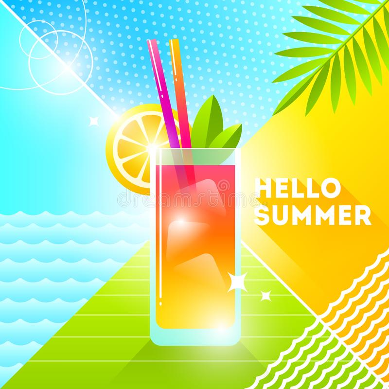 Hello summer - illustration. Cocktail glass on a abstract background. 80`s retro style illustration. Tropical vacation flat design stock illustration