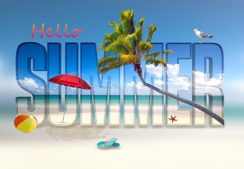 Hello summer illustration royalty free stock photos
