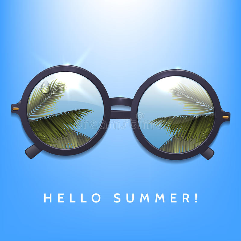 Hello summer illustration. Palms reflection in round sunglasses. Blue sky background. Flecks of sunlight. royalty free illustration