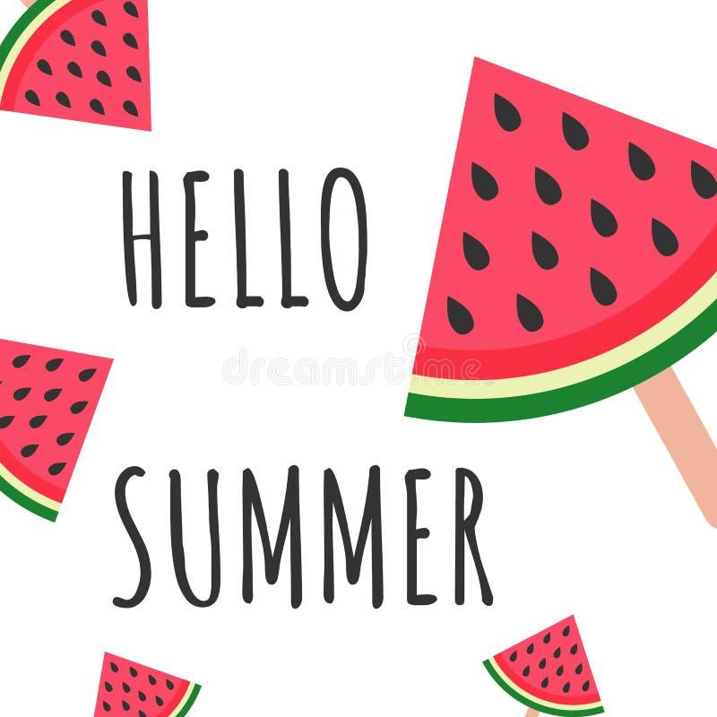 Hello Summer inscription on the background of watermelon. Watermelon icecream DESIGN Vector illustration on white background. stock illustration