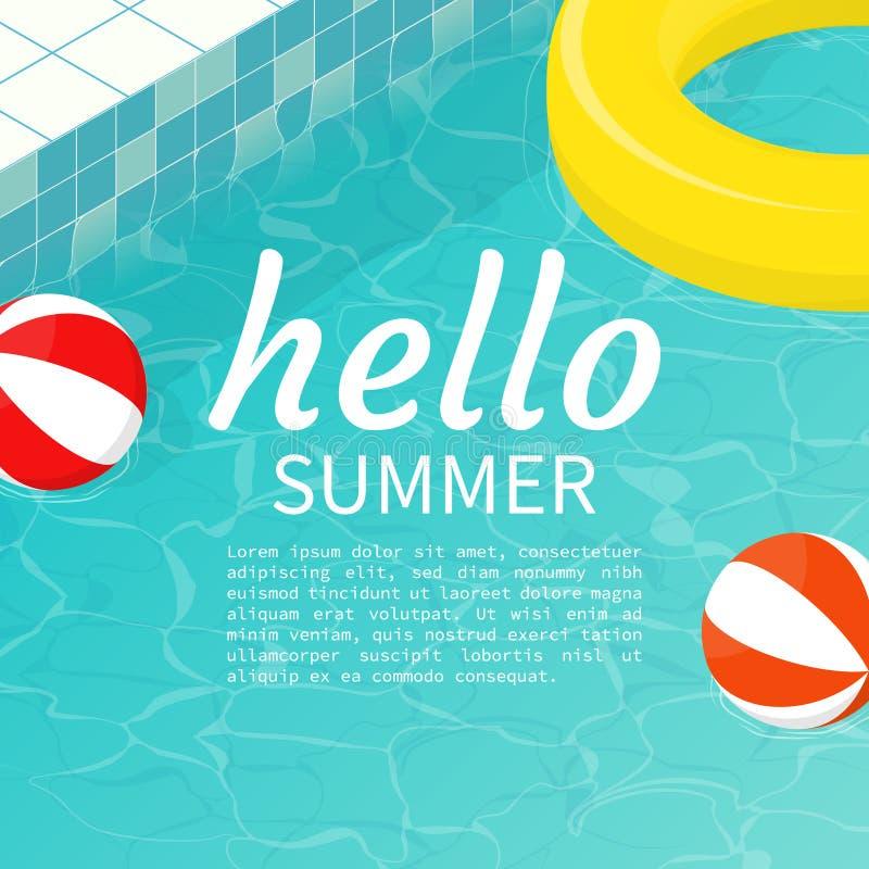 Hello summer isometric pool float Beach ball vector vector illustration