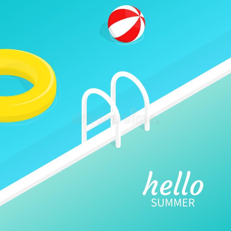Hello summer isometric pool float Beach ball vector royalty free illustration