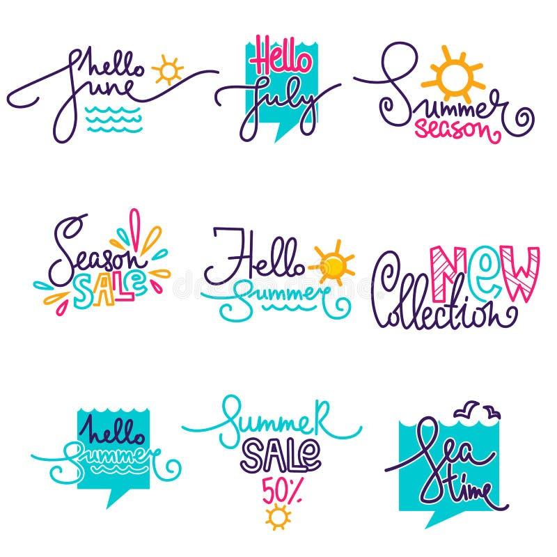 Hello Summer, June, July. Doodle handdrawn lettering composition and logo royalty free illustration