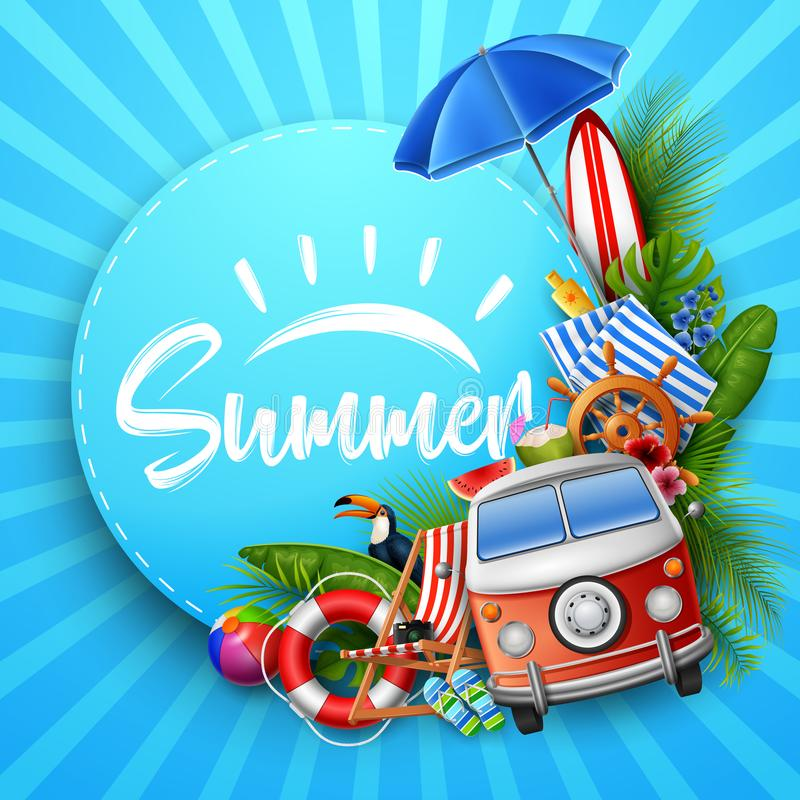 Hello Summer with leaves tropical, round paper, banner, poster, on striped Summer background stock illustration