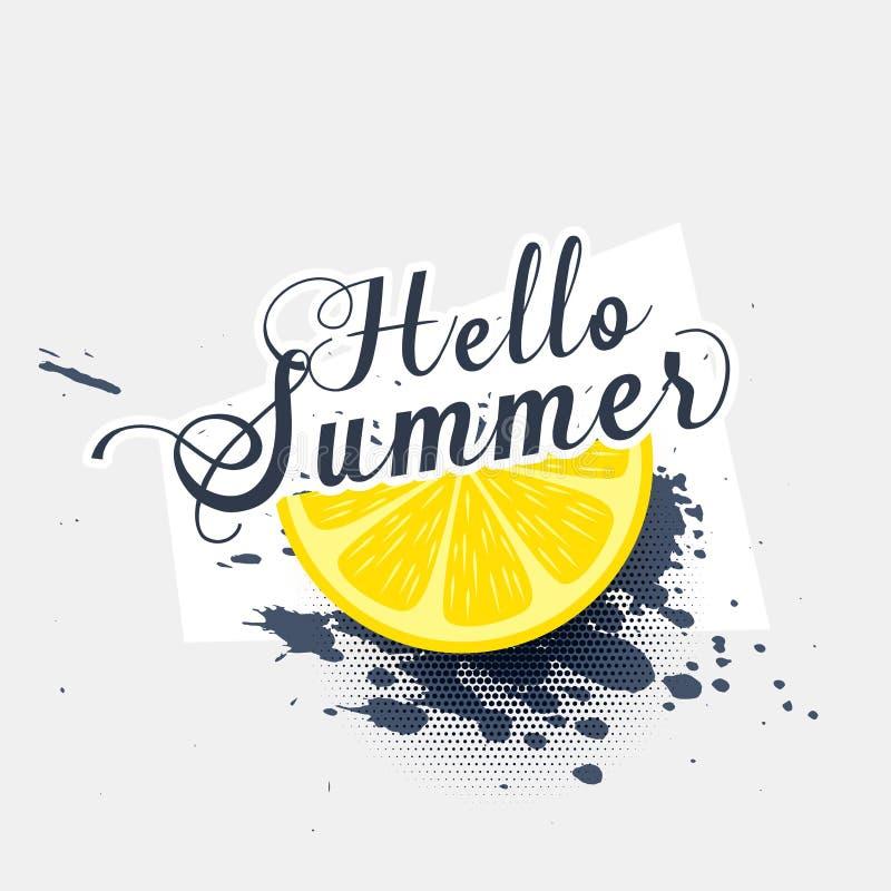 Hello summer lemon grunge splash background royalty free illustration
