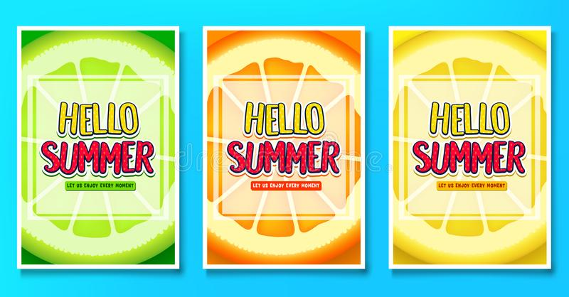 Hello Summer Let Us Enjoy Every Moment Greeting Posters with Lime, Orange vector illustration
